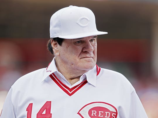Former Reds great Pete Rose stood by as the 1976 Big