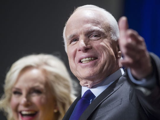 Sen. John McCain, with his wife Cindy, gives a victory speech at Heard Museum in Phoenix on Tuesday, Nov. 8, 2016, after winning re-election. Two days later, the six-term U.S. senator  was honored with a Best of the West award for leadership.