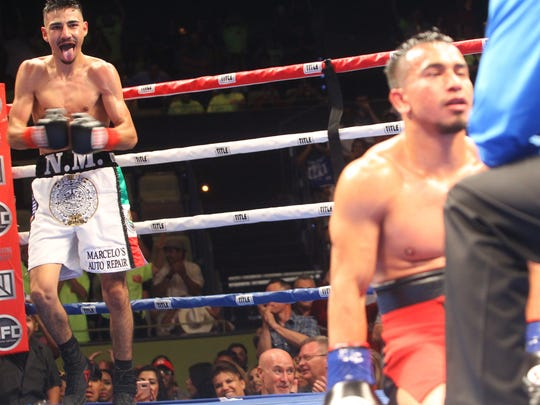 At left, Javier Padilla is elated after knocking out Mefi Monterroso in the fourth round of their bout at the Agua Caliente Casino Resort Spa in Rancho Mirage on June 24, 2017.