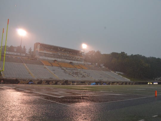 View of the field at Waldo Stadium during a weather