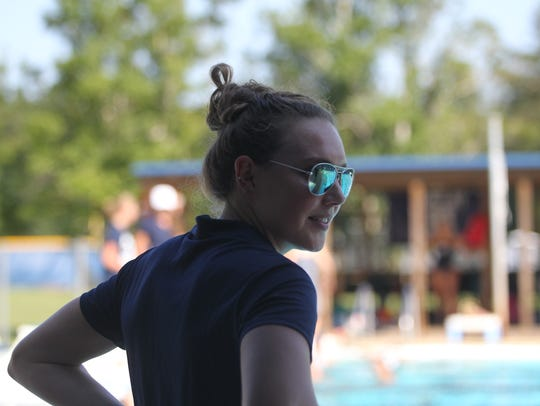 Second-year Maclay swim coach Kaitlyn Dressel, a former