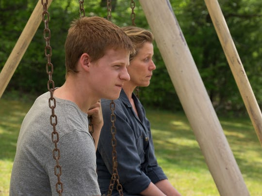 """Robbie (Lucas Hedges) and Mildred (Frances McDormand) are son and mother in """"Three Billboards Outside Ebbing, Missouri."""""""