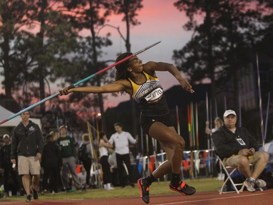 Southern Miss' Callie Jones pulls out an FSU Relays
