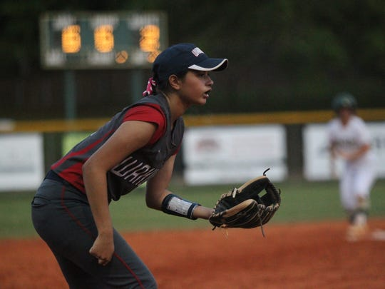 Wakulla third baseman Ana Reyes sets up defensively