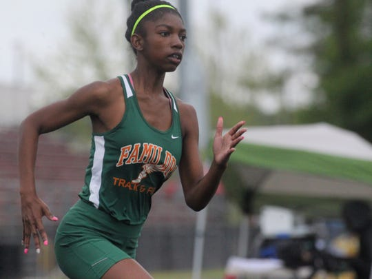 FAMU DRS' Sanaa Crumiel races to a win in the 400-meter dash of the District 3-1A meet.