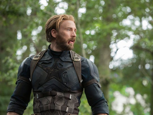 Captain America/Steve Rogers (Chris Evans) in a scene