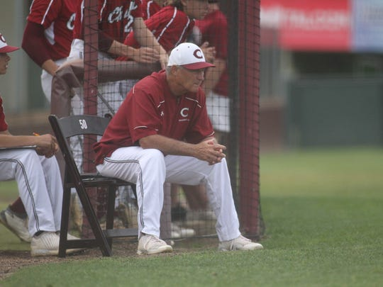 Dick Steed watches his team as Chiles fell 7-3 to Fleming Island on Tuesday night in a Region 1-8A semifinal.