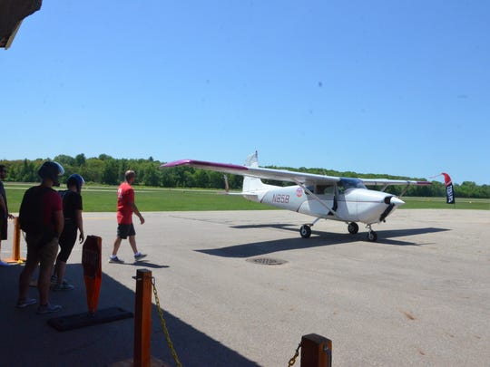 Skydive Allegan's Cessna 182 single-engine airplane carries loads of up to four passengers.