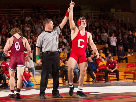 Cornell's Gabe Dean, pictured after winning by technical fall over Oklahoma's Greg Wilson back in November 2014 at Newman Arena, is the defending NCAA Division I national champion at 184 pounds.