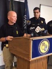 Sgt. Andrew McPherson and Chief Michael Ciminelli discuss the arrest at a news conference Thursday.
