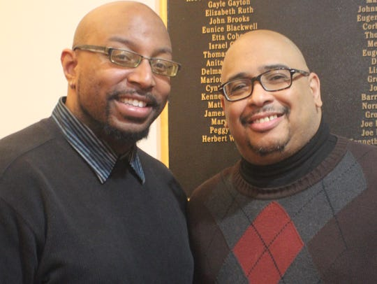 Gospel musicians Frederick Dicks (left) and WDKX FM's Paul Boutte. The 2019 SongFest takes place Jan. 19 at Aenon Baptist Church.