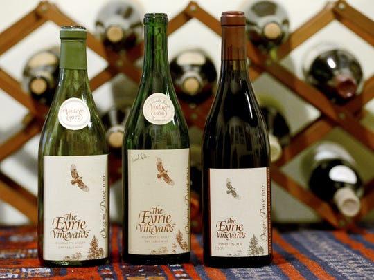 Bottles of pinot noir at The Eyrie Vineyards date back to the early 1970s.