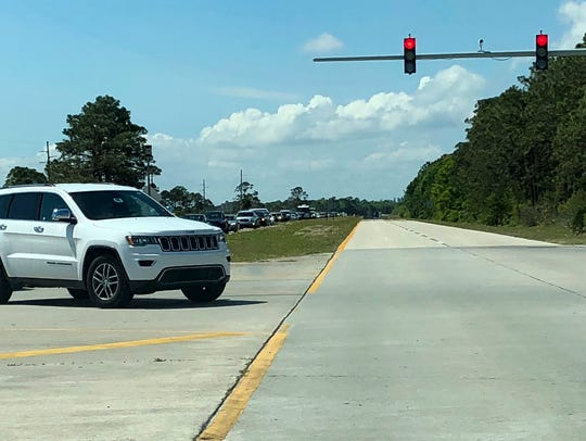 Northbound traffic on State Road 3 backed up April