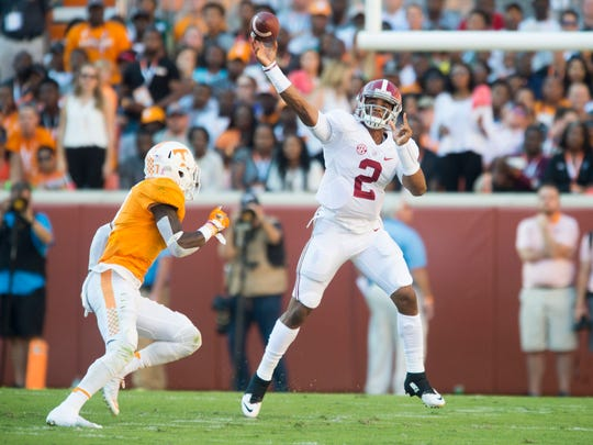Alabama quarterback Jalen Hurts (2) gets off the throw while pressured by Tennessee defensive back Rashaan Gaulden (7) in a game in 2016.