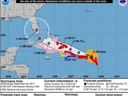 Irma on Wednesday Sept. 6 at 8 a.m.