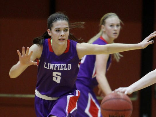 Riley Graham, left, a senior guard for Linfield, watched