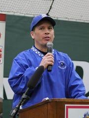 Reading baseball coach Pete Muehlenkamp speaks at the