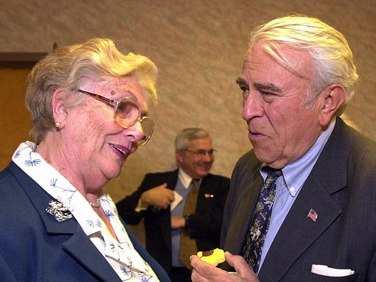 Joan O'Brien, of Suffern, greets Congressman Ben Gilman