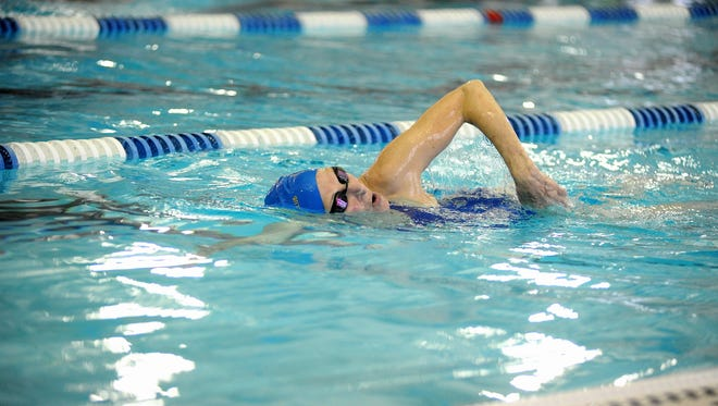 Charlotte Sanddal, 92, of Helena, swims the mile in the Montana State Masters Swim Meet, held in Polson on March 21 and 22.