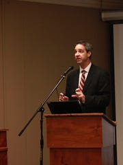Eric Bosman, consultant at Kimley-Horn, updates the Jackson-Madison County School Board at Monday's meeting.
