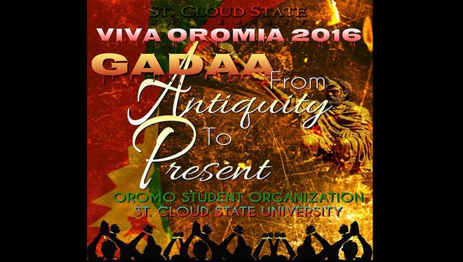 The event poster for Viva Oromia: Oromo Night 2016 shows silhouettes of what has become a popular demonstration tactic in Ethiopia: people crossing or clasping their hands to protest government land policies.