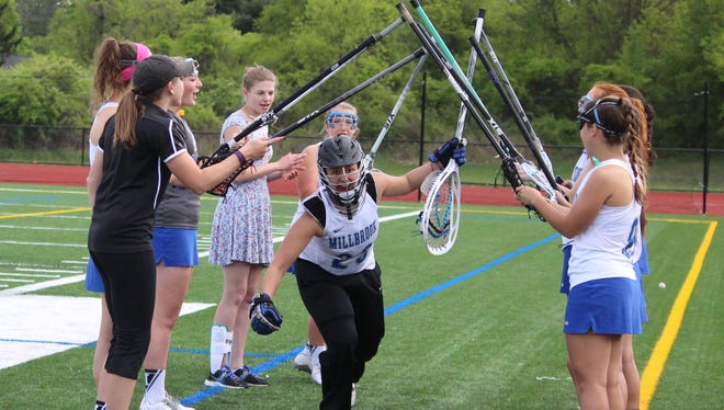 Millbrook lacrosse goalie Claire Martell takes the field. May 19, 2016
