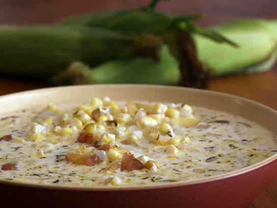 Corn chowder is a hearty stew perfect for meals in