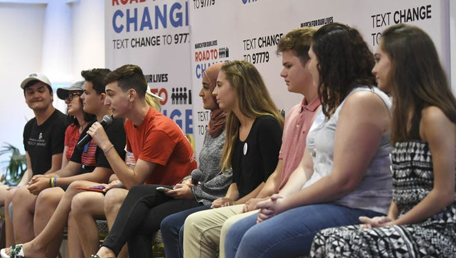 A panel of local students, along with students from Marjory Stoneman Douglas High speak about gun violence, safety and security and other issues during the Road to Change tour stop Saturday at Space Coast Convention Center
