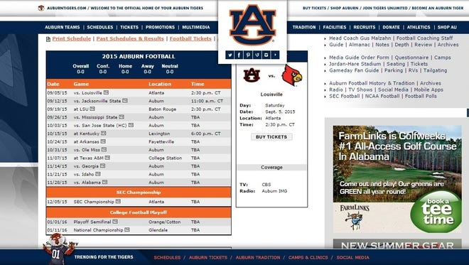Auburn lists College Football Playoff on its online 2015 football schedule.