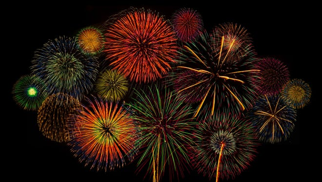 Colorful fireworks of various colors.