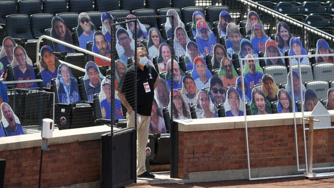 The Mets have cardboard cutouts of fans during practice and crowd noise will be pumped into the stadium during games.