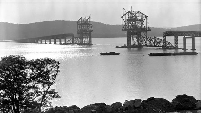 The first Tappan Zee Bridge under construction.