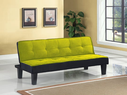 Walmart's armless flannel-upholstered futon sofa comes in a variety of colors including pink, chocolate, blue and orange in a black base. It's a great contemporary option that combines smart styling in an everyday sofa with a comfortable sleep solution for overnight guests.