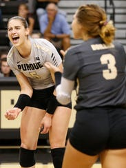 Ashley Evans of Purdue celebrates a point against Indiana