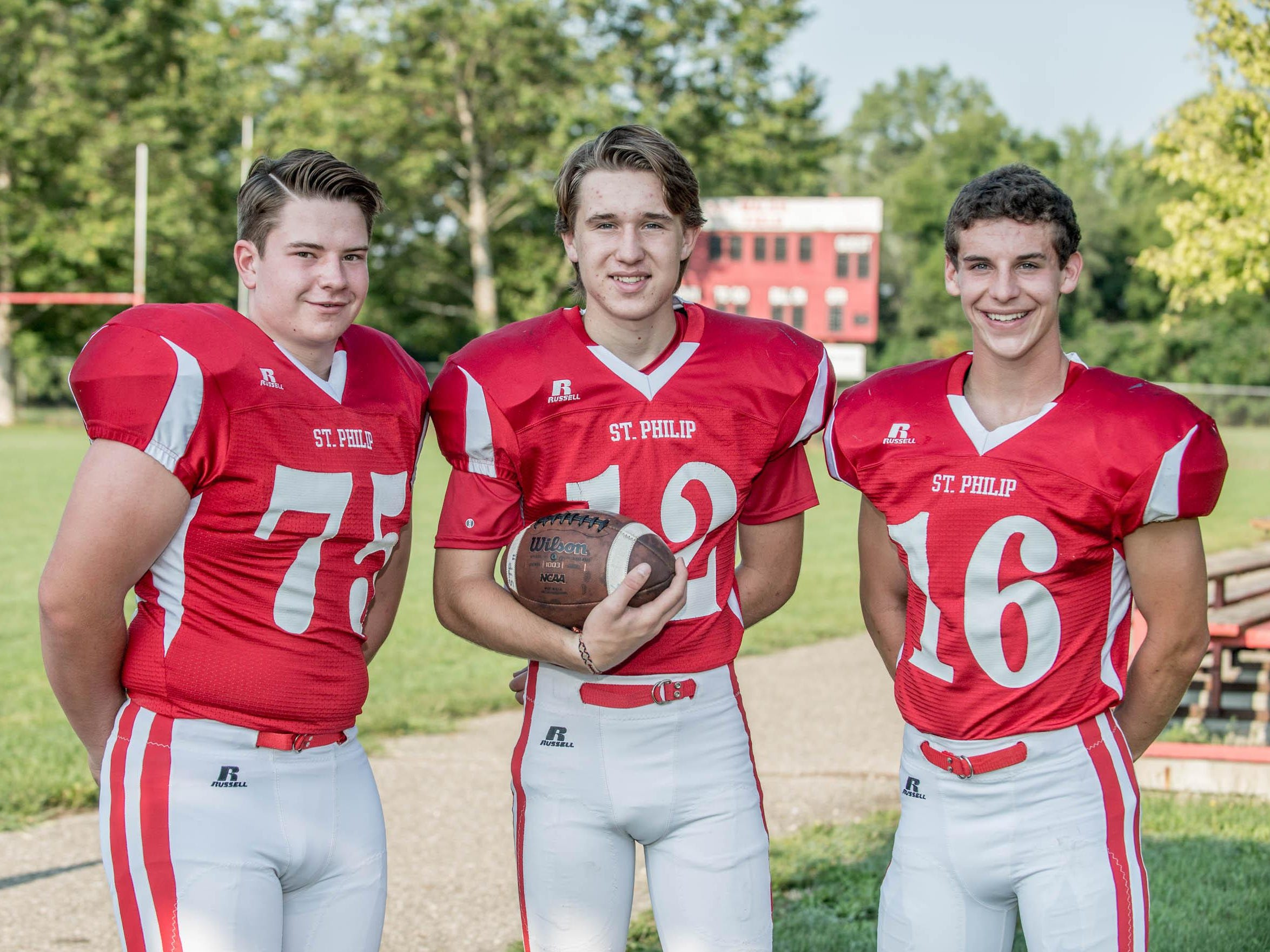 St. Philip is hoping for more success in 8-man football behind senior leaders, from left, Noah Ellinger, Drew Lantinga and Grayson Obey.