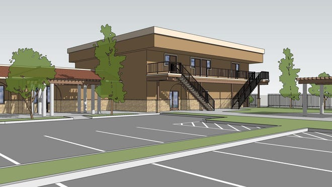 A rendering of the planned Crossway Residences on South El Dorado Street in Stockton.