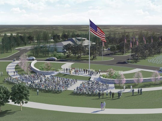 The main flagpole and assembly area of the planned Western New York National Cemetery.