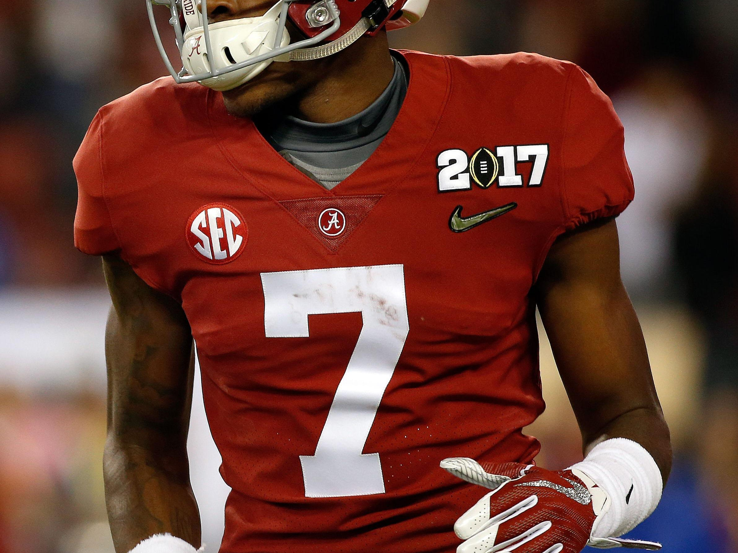 Jan 9, 2017; Tampa, FL, USA; Alabama Crimson Tide wide receiver Trevon Diggs (7) works out prior to the 2017 College Football Playoff National Championship Game at Raymond James Stadium. Mandatory Credit: Kim Klement-USA TODAY Sports