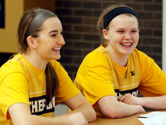 Jordan Wersinger, left, and Hannah Collins are seen