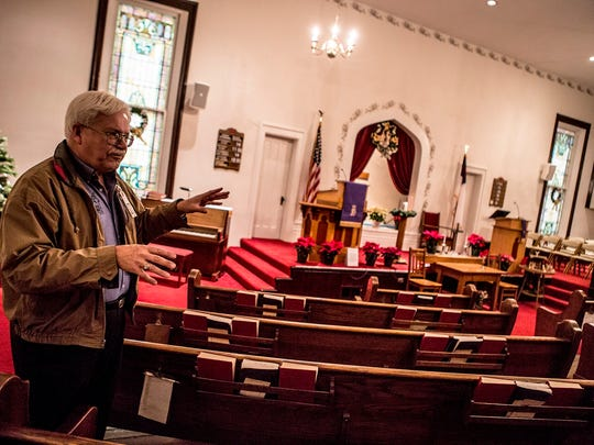 David Dernberger, the historian for the Hebron Christian Church, points out the renovations that were made to the church in 1915. The church was originally built in 1878 but church members decided to raise the church to add a fellowship hall below.