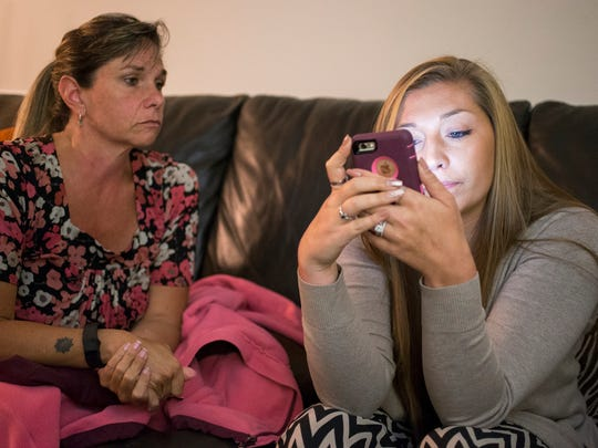 Kaylin Maddox Brietzke (seen with her mother, Natalie Maddox, left) is a survivor of sexual abuse by her former gymnastics coach, James Bell, who is serving an eight-year prison sentence in Rhode Island.