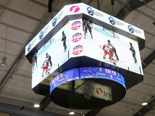 The new video scoreboard at First Arena during a preseason game on Oct. 10.