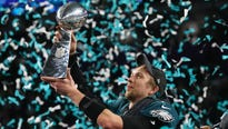 The Philadelphia Eagles celebrated their historic Super Bowl LII win for a final time Thursday with elaborate championship rings.