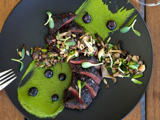 The charred hanger steak at Mowry & Cotton at The Phoenician.