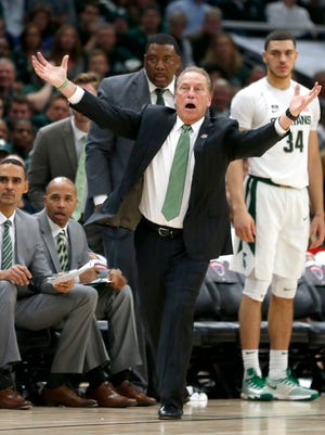 Michigan State coach Tom Izzo yells to his team during the second half of an NCAA college basketball game against Duke on Tuesday, Nov. 14, 2017, in Chicago. Duke won 88-81.