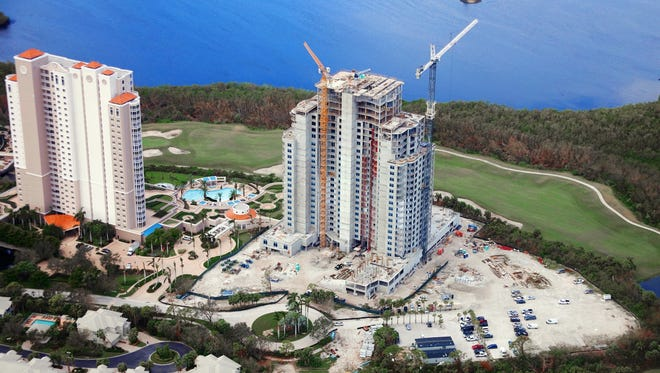 Construction of The Ronto Group's 26-floor, 120-unit Seaglass high-rise tower within Bonita Bay is on schedule for completion this summer.