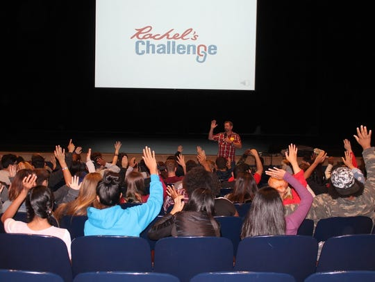 Students take part in Rachel's Challenge assembly by