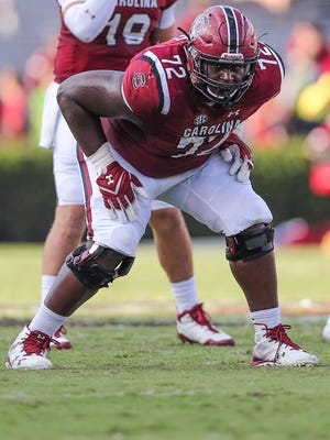 South Carolina Gamecocks offensive lineman Donell Stanley (72) against the Louisiana Tech Bulldogs during the second half at Williams-Brice Stadium in Columbia on Sept. 23.