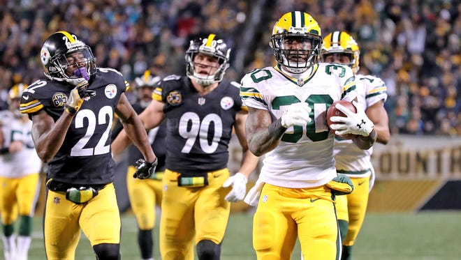 Packers running back Jamaal Williams has averaged 20 carries and three receptions since taking over the starting job in Week 10.