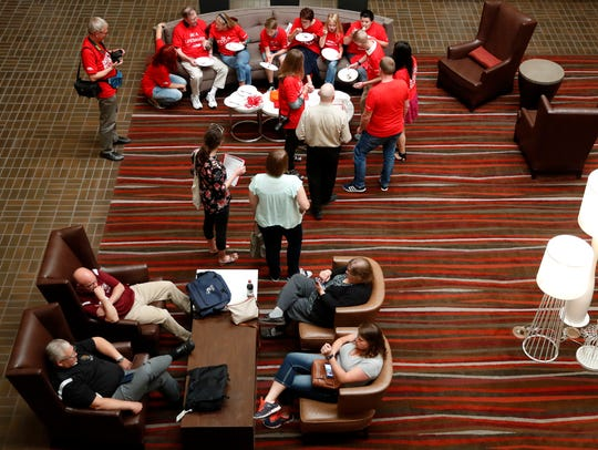 A group of family and friends gather in the Radisson